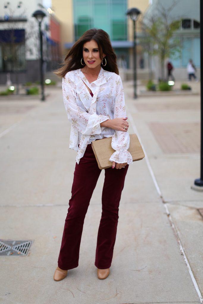 Feminine Floral Blouse & Cords